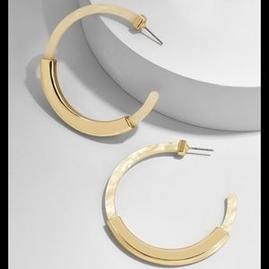 BaubleBar Tassiana Ivory Resin Hoop Earrings